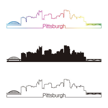 Pittsburgh skyline linear style with rainbow in editable vector file Vector