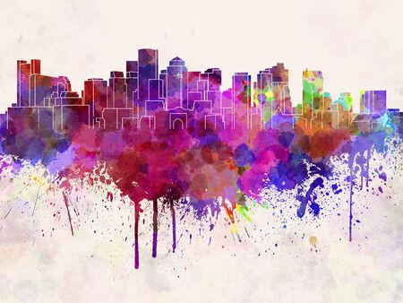 boston: Boston skyline in watercolor background Stock Photo
