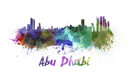 Abu Dhabi skyline in watercolor splatters with clipping path