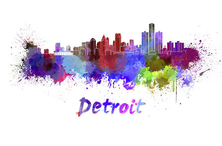 Detroit skyline in watercolor splatters with clipping path photo
