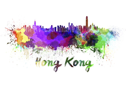 Hong Kong skyline in watercolor splatters with clipping path Stock Photo