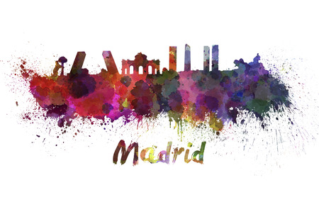 madrid spain: Madrid skyline in watercolor splatters with clipping path Stock Photo