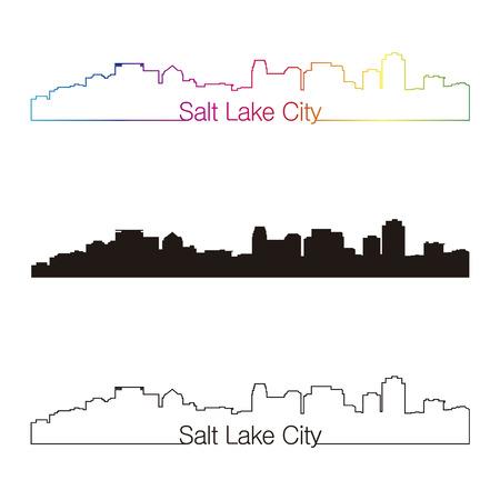 salt lake city: Salt Lake City skyline linear style with rainbow in editable vector file Illustration