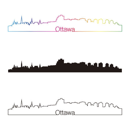 Ottawa skyline linear style with rainbow in editable vector file Vector