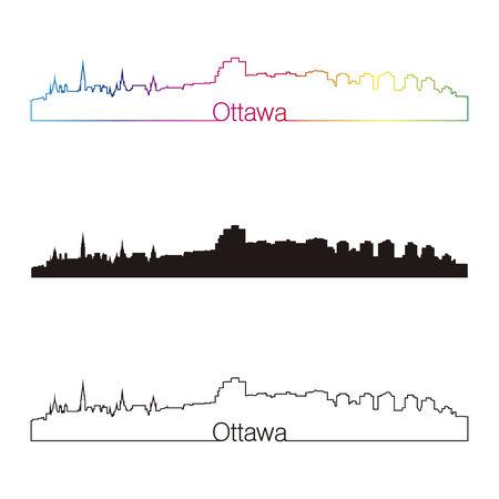 Ottawa skyline linear style with rainbow in editable vector file Vector