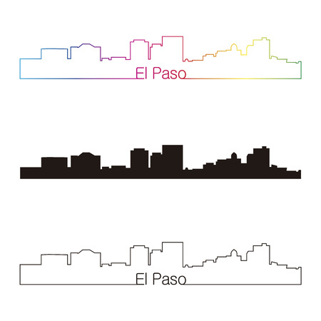 El Paso skyline linear style with rainbow in editable vector file Vector