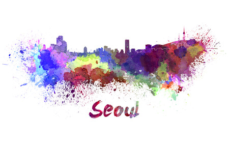 Seoul skyline in watercolor splatters with clipping path Stock Photo