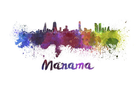 Manama skyline in watercolor splatters with clipping path photo