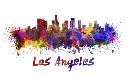 Los Angeles skyline in watercolor splatters with clipping path Banco de Imagens