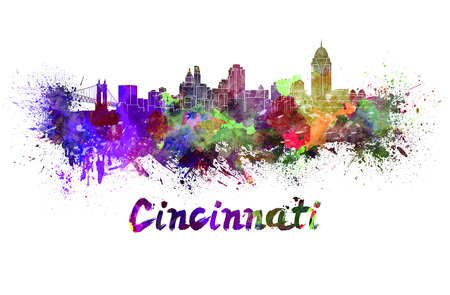 Cincinnati skyline in watercolor splatters with clipping path photo