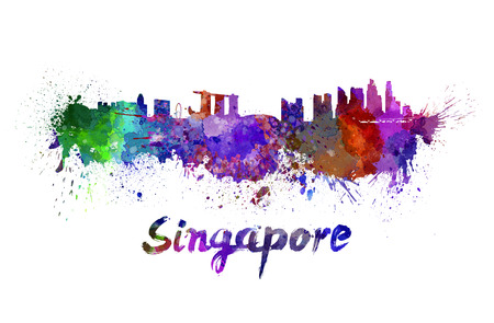 클리핑 패스와 함께 수채화 뿌려 놓은 싱가포르의 스카이 라인 스톡 콘텐츠