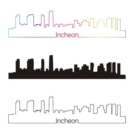 incheon: Incheon skyline linear style with rainbow in editable vector file Illustration