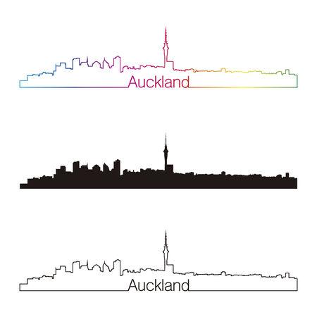 Auckland skyline linear style with rainbow in editable vector file Vector