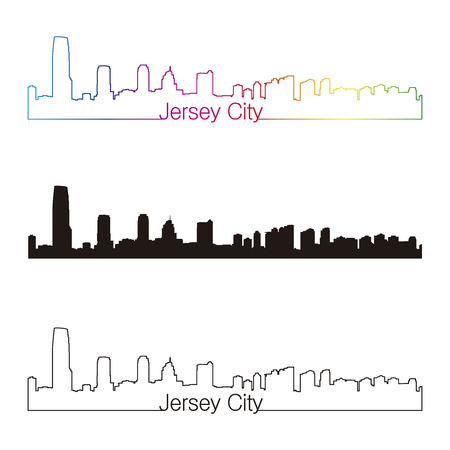 jersey city: Jersey City skyline linear style with rainbow in editable vector file Illustration