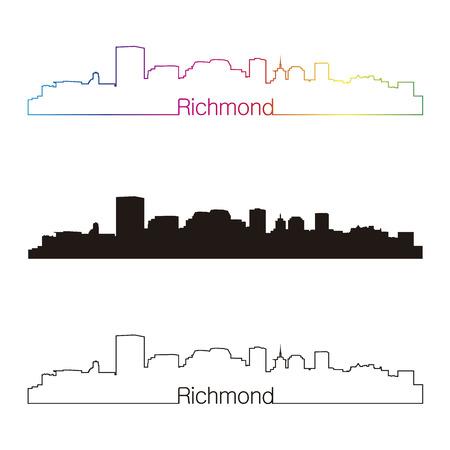 Richmond skyline linear style with rainbow in editable vector file