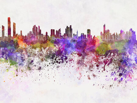 panama: Panama City skyline in watercolor background Stock Photo