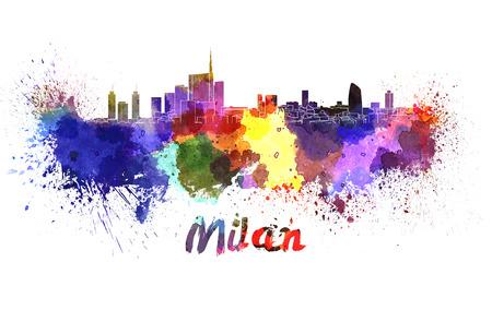 Milan skyline in aquarel splatters met het knippen van weg