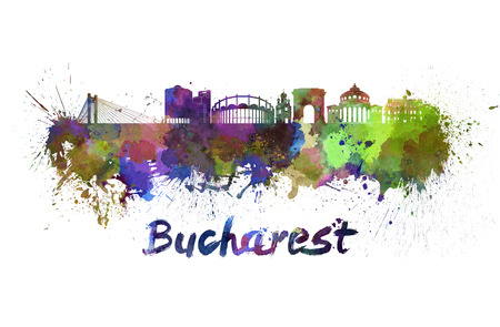 Bucharest skyline in watercolor splatters with clipping path
