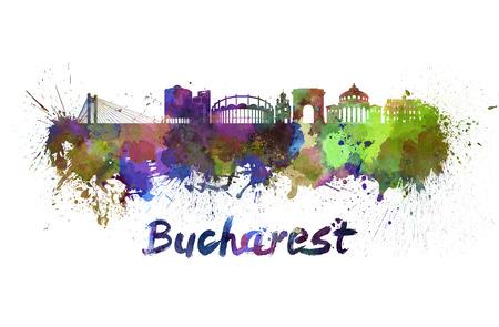 Horizonte de Bucarest en salpicaduras de acuarela con trazado de recorte Foto de archivo - 28105943