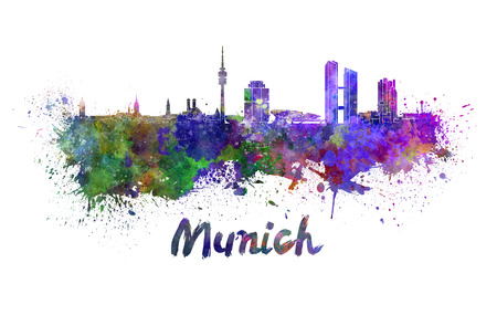 munich: Munich skyline in watercolor splatters with clipping path Stock Photo