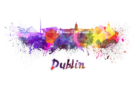 dublin: Dublin skyline in watercolor splatters with clipping path Stock Photo