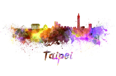 Taipei skyline in watercolor splatters with clipping path Stock Photo - 28139393