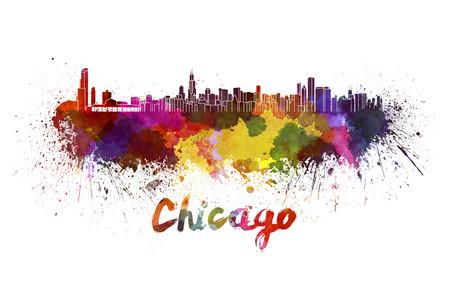 クリッピング パスと水彩の飛び散りでシカゴのスカイライン 写真素材