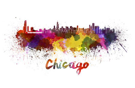 chicago skyline: Chicago skyline in watercolor splatters with clipping path