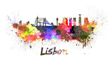 Lisbon skyline in watercolor splatters with clipping path
