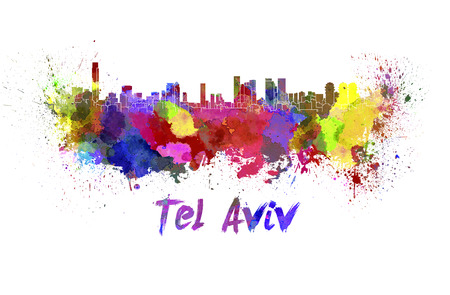 tel: Tel Aviv skyline in watercolor splatters with clipping path Stock Photo