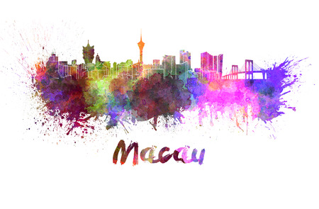 macau: Macau skyline in watercolor splatters with clipping path
