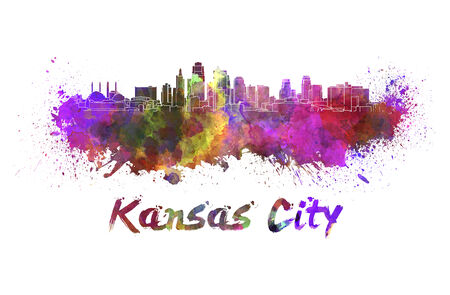Kansas City skyline in watercolor splatters  photo