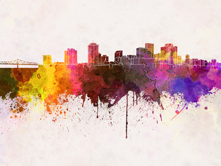 new orleans: New Orleans skyline in watercolor background Stock Photo