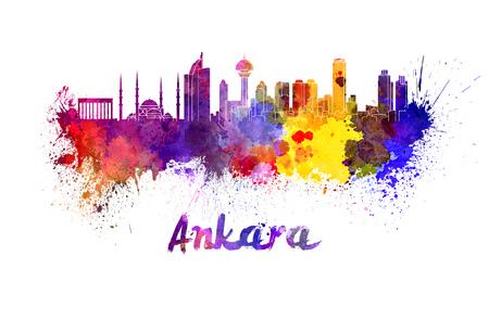 Ankara skyline in watercolor splatters