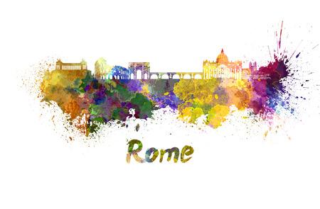 Rome skyline in watercolor splatters