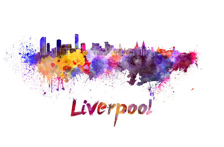 liverpool: Liverpool skyline in watercolor splatters with clipping path Stock Photo