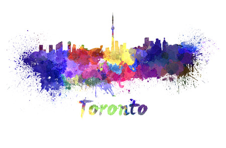 toronto: Toronto skyline in watercolor splatters with clipping path Stock Photo