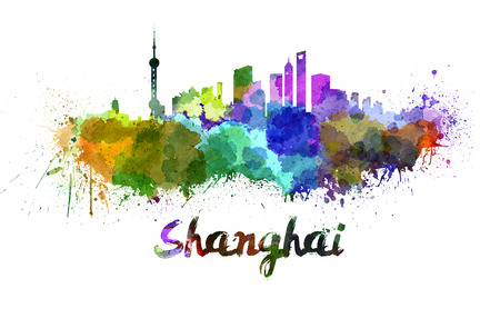 shanghai: Shanghai skyline in watercolor splatters with clipping path