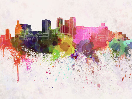 Birmingham AL skyline in watercolor background Stock Photo