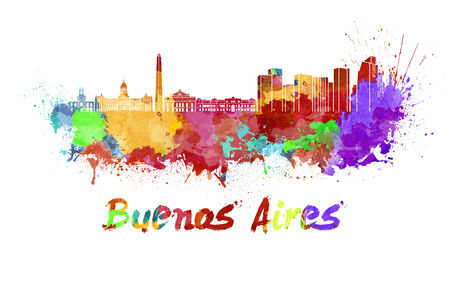 buenos: Buenos Aires skyline in watercolor splatters with clipping path