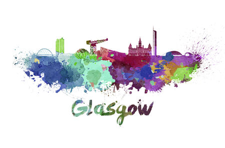glasgow: Glasgow skyline in watercolor splatters with clipping path