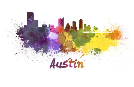 austin: Austin Skyline in Aquarell spritzt mit Beschneidungspfad