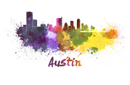 texas: Austin skyline in watercolor splatters with clipping path Stock Photo