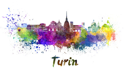 Turin skyline in watercolor splatters with clipping path Stock Photo