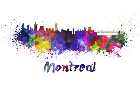 Montreal skyline in watercolor splatters with clipping path photo