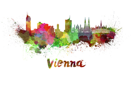 Vienna skyline in watercolor splatters with clipping path Stock Photo
