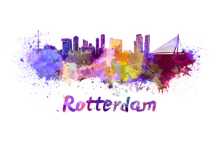 Rotterdam skyline in watercolor splatters with clipping path Stock Photo