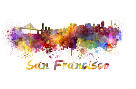 francisco: San Francisco skyline in watercolor splatters with clipping path Stock Photo