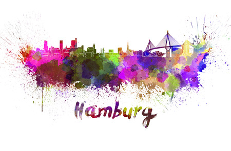 Hamburg skyline in watercolor splatters with clipping path Stock Photo