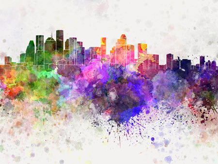 houston: Houston skyline in watercolor background